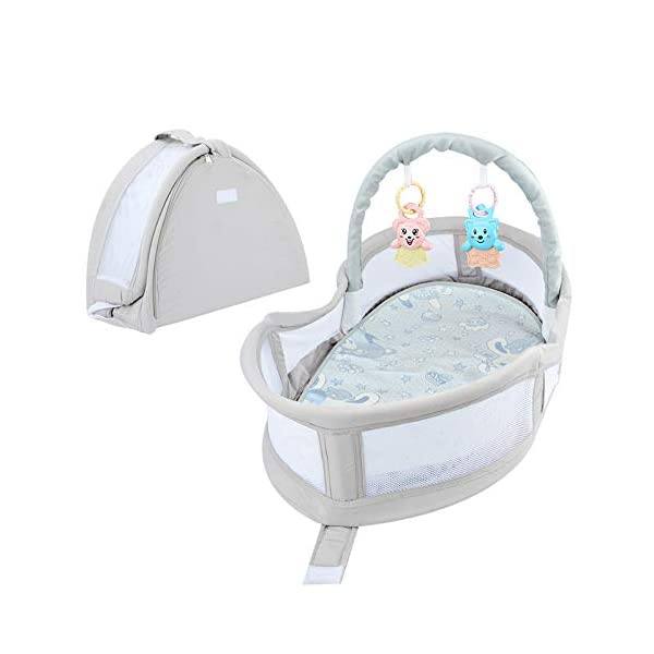 YANGGUANGBAOBEI Portable Baby Crib,Breathable And Hypoallergenic Toddler Newborn Co-Sleeping Lounger Bed, The All In One Baby Lounger YANGGUANGBAOBEI ✔ [BREATHABLE - WASHABLE]: Thousands of mesh holes and elastic layer maintain air circulation. The baby sleep pod can offer your baby good breathing environment when he sleeping.Even after repeated washing, its zipper will remain well. ✔ [ADJUSTABLE - FOLDING]: The slope of the head position of the baby bed can be adjusted from 5 to 30 degrees, it is not only suitable for sleeping, but also can be a baby bean bag. The folding design is easy to carry when you travel outside. ✔ [SOFT PAD - INSIDE DIMENSIONS]: This baby bed comes with an extra soft foldable cushion. You don't have to add anything extra to make your baby feel comfortable. The plastic frame is BMC material which is very light and firm. 1