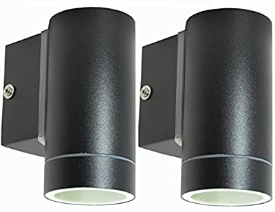 2 X Black Stainless Steel Single Outdoor Wall Light IP65 Down Wall Light Matt Black ZLC018B