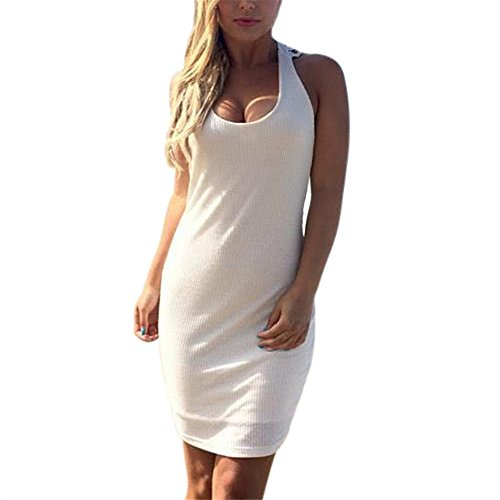 hansee Frauen massiv Spitze hinten ärmellos O Hals Rückenfrei Strand Mini Kleid, damen Mädchen, 0814, weiß (Ärmellos V-hals-knoten)