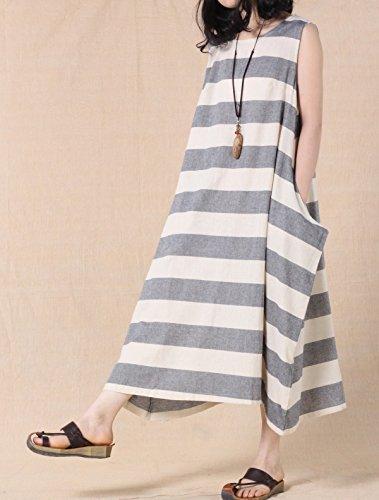 MatchLife Damen Ohne Arm Freizeitkleider Streifen Kleider Grey