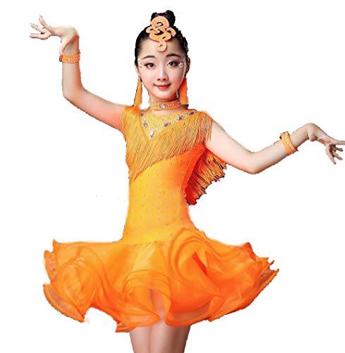 Latin Tanzkleid für Kinder Latin Latin Salsa für Kinder Professionelles Tanzkleid Mädchen Dancewear Kostüme Kleid,Orange,120CM (Professionelle Tanz Kostüm Kinder)
