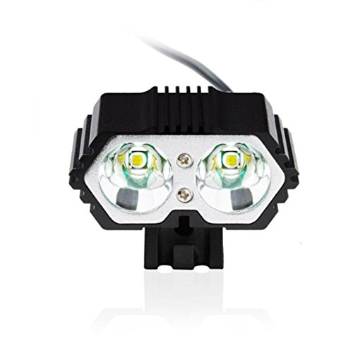 Negro, 100 x 85 x 60mm Linterna LED Manadlian LED USB L/ámpara impermeable 6000LM 2 X CREE XM-L T6 Faros delanteros de bicicletas