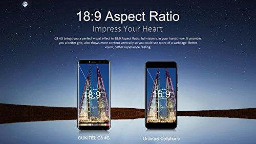 OUKITEL C8 4G Smartphone Barato Sin Marcos Android 7 0 5 5      HD Telefonos Moviles Libres 3000mAh QuadCore 5 0MP 13 0MP C  mara 2GB RAM 16GB ROM Hue