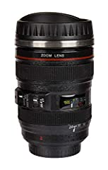 Idea Regalo - Mug Camera zoom Lens Tazza in acciaio forma obiettivo 350 ml teleobiettivo colore nero