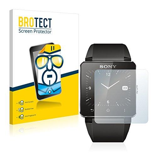 BROTECT Schutzfolie kompatibel mit Sony Smartwatch 2 [2er Pack] - kristall-klare Bildschirmschutz-Folie, Anti-Fingerprint