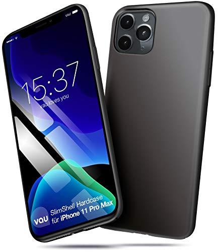 vau Hülle passend für Apple iPhone 11 Pro MAX (6.5) - Slim-Shell hart dünn schwarz Hard-Case Handyhülle Schutzcase (OLED 2019)