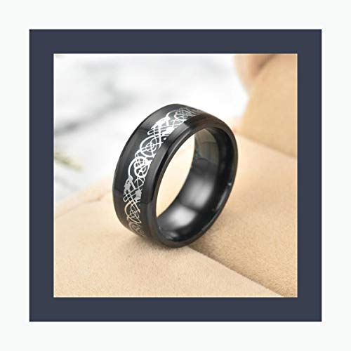 AXstore Schmuck Ring 11 Colors Blue Black Silvering Irish Dragon Titanium Carbide Ring 8Mm Wedding Bands Couple Anniversary Jewelry G0170 Silver black1 13