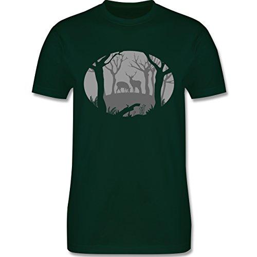 Wildnis - Hirsche - Herren Premium T-Shirt Dunkelgrün