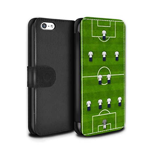 Stuff4 Coque/Etui/Housse Cuir PU Case/Cover pour Apple iPhone 5C / Pack 9pcs Design / Formation Football Collection 4-2-3-1/Blanc