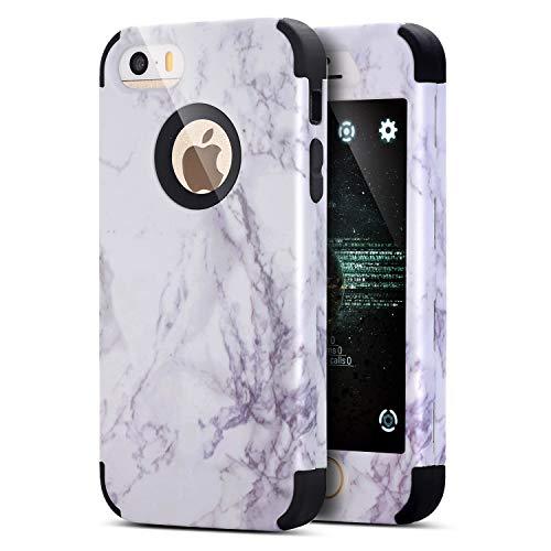 ikasus Coque iPhone 8/7 Etui,Marbre hybride Ultra résistante aux chocs Full-body protection en silicone souple et PC dur double couche prise en main sûre protection Bumper Coque,Noir