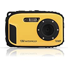 Fotocamera digitale impermeabile, Stoga CGT002 Fotocamera digitale Schermo 2,7 pollici LCD e risoluzione 16MP videocamera impermeabile con zoom e video recorder + Zoom 8x spedizione gratuita-(gialla)