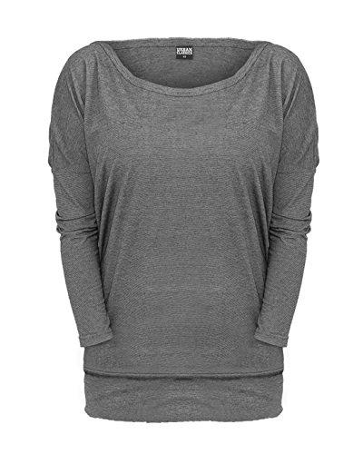 Urban Classics Ladies Pin Stripe 3/4 Sleeve Tee Girl-Longsleeve grau S (Sleeve Tee Kid Long)