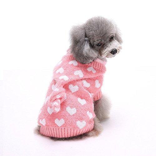 Moolecole Haustier-Feiertags-Rosa-Herz Haustierbekleidung Hundestrickjacke