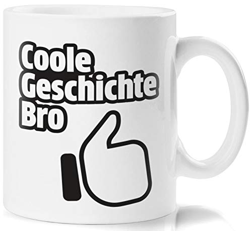 Lustig Bedruckte Tasse mit Daumen Nach Oben Motiv und Spruch Coole Geschichte Bro und Bodenaufdruck ironisch? Ich? Niemals! Perfekt zum Frühstück oder in der Kaffeepause (Daumen Oben Nach Unten Nach)
