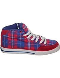 Circa Skateboard Shoes ALW 50 Mid Red/Blue/White Plaid Sneakers Shoes