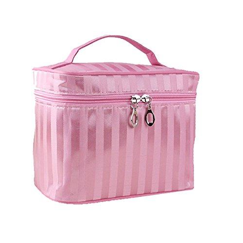 Streifen Tragbare Reise-Kosmetiktaschen Multifunktions- Aufbewahrungsbeutel Mehrfarbig Pink