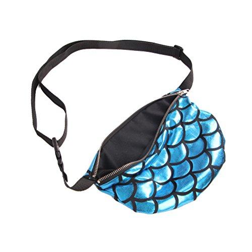 Fisch Für Frauen (LUOEM Abendtasche Multifunktionale Fisch-Skala-Taillen-Beutel/Kosmetische Handtasche(blau))