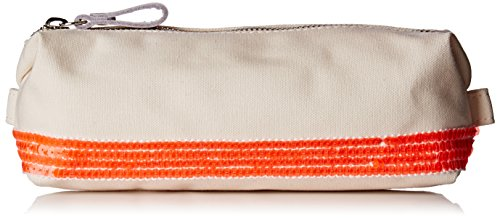 Vanessa Bruno Femme Cabas trousse coton et paillettes, Blanc/ Orange Fluo, 6x26x10 cm (W x H x L)