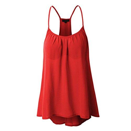 Angelof Débardeur à Bretelles Mousseline Femme Caraco Fille Grande Taille Uni Blouse Uni sans Manches Loose Rouge
