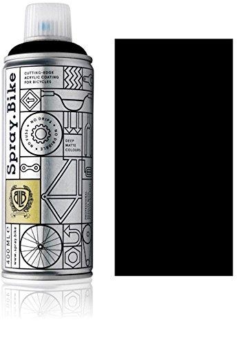 Fahrrad Lackspray in versch. Farben - KEINE GRUNDIERUNG notwendig - Acryllack / Lack Spray in 400 ml Spraydose, Matt- und Klarlack Optik möglich (Schwarz