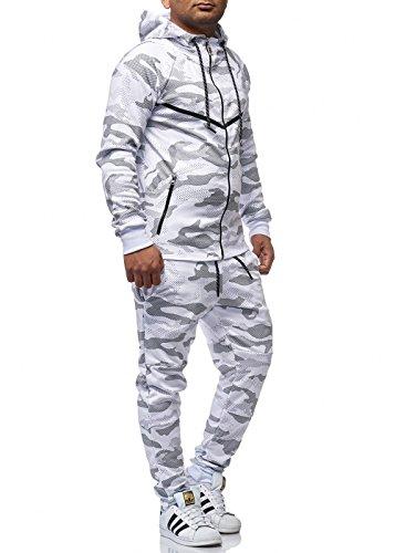 Violento Herren Jogginganzug Sportanzug Jogging Hose Jacke Army Weiß S