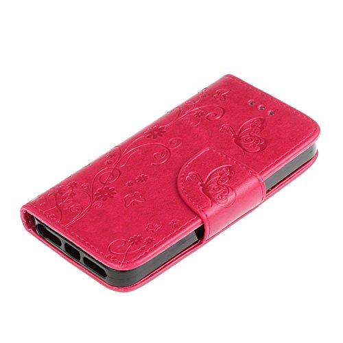 Custodia iPhone SE, ISAKEN Custodia iPhone 5S, Cover iPhone 5 Flip Case, Elegante borsa Custodia in Pelle Protettiva Portafoglio Case Cover per Apple iPhone 5 5S SE / con Supporto di Stand / Carte Slo Fiore: roseo