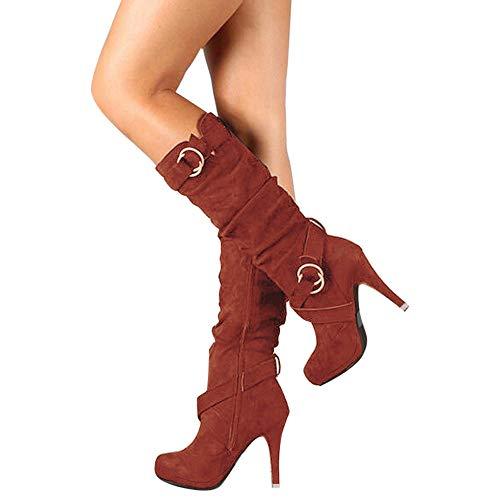 SUNNSEAN Damenstiefel Stiefeletten Damen Schnalle römische Plattform High Heels Knie Stiefel Martin...