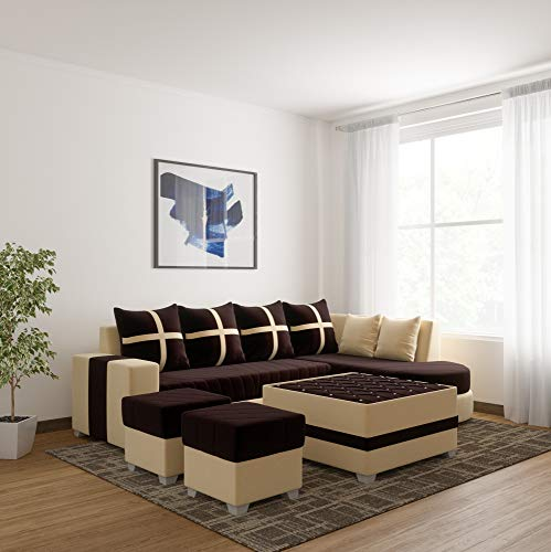 WUDCORP-Chicago_Full_Sofa_Set_with_Center_Table and 2 PUFFIES (Multicolor) (8.25 * 6.25, Brown)