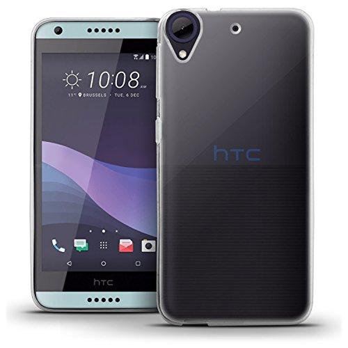igadgitz Transparent Klar Glänzend Etui Tasche Hülle Gel TPU für HTC Desire 650 2017 Case Cover + Displayschutzfolie