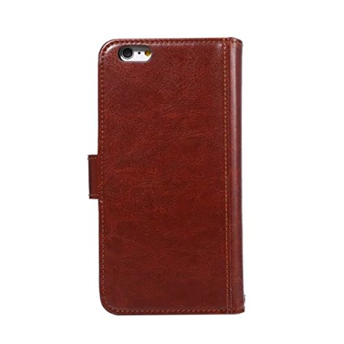 iPhone 6S Plus Coque, iPhone 6 Plus Coque, Lifeturt [ Blanc ] Leather Case Wallet Flip Protective Cover Protector, Etui de Protection PU Cuir Portefeuille Coque Housse Case Cover Coquille Couverture a E02-Marron