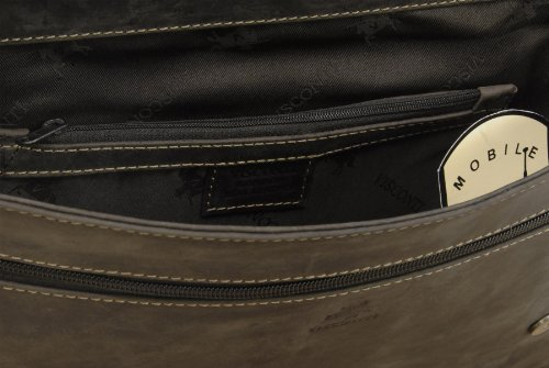 "Gibecière pour ordinateur portable 15"" A4 en cuir signé Visconti (18516) Marron"