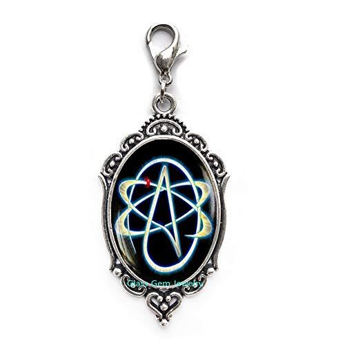 Atheist-Symbol Reißverschlusszug, Atom Karabinerverschluss, Atheist Schmuck, keine Religion, Reißverschluss, Q0032