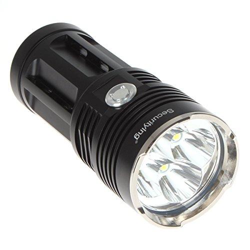 SecurityIng® Maximal 4000 Lumen 4 x CREE XM-L T6 LED Taschenlampe IPX8 Wasserdichtes Niveau 3 Arbeits Modi LED-Taschenlampe Licht (4 x 18650 Batterie nicht einschließen) (Schwarze)
