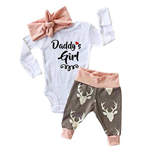YunYoud Baby Weihnachten Outfits Set Mädchen Buchstaben Drucken Bodysuit O-Ausschnitt Lange Ärmel Overall + Hirsch Gedruckt Hose + Haarband Christmas Sets (70, Weiß)