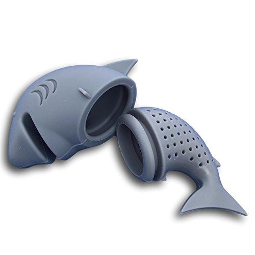 Ekna®, filtro colino da tè, a forma di squalo, grigio;per gli amanti del tè;confezione da 2 pezzi, in silicone, senza bpa