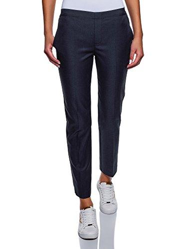 oodji Ultra Femme Pantalon Taille Élastique en Lyocell, Bleu, FR 38 / S