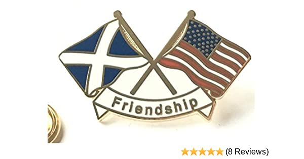 Scotland /& USA America Friendship courtesy New Design Enamel lapel pin badge