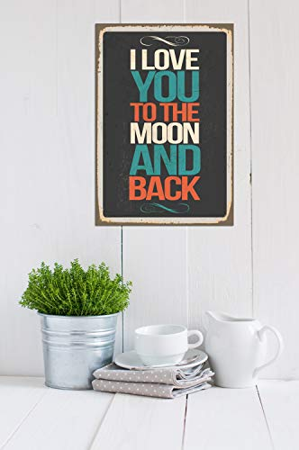 Cuadros Lifestyle Wanddekoration Blechschild – I Love You to The Moon and Back
