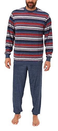 NORMANN WÄSCHEFABRIK Eleganter Herren Frottee Pyjama Schlafanzug mit Bündchen, auch in Übergrößen - 281 101 93 003, Größe2:60, Farbe:blaumelange