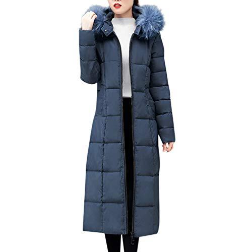 iHENGH Damen Oberbekleidung Faux Pelz mit Kapuze Mantel Lange Baumwolle aufgefüllte Jacken Taschen Mäntel(Blau, 4XL)