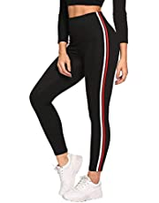 FITG18® Gym wear Leggings Ankle Length Free Size Workout Trousers | Striped Stretchable Jeggings | High Waist Sports Fitness Yoga Track Pants for Girls & Women