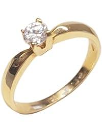 Clearance Bague Femme en Or 18 carats Jaune avec Zircon Blanc