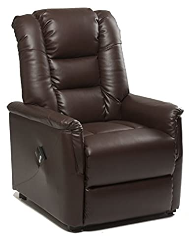The Bradfield Riser Recliner Chair in Faux Leather (PU). Single Motor, easy-clean lift and tilt rise chair. Three colours available - cream, black and nut brown (Nut Brown)