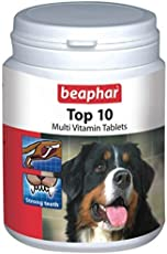 Beaphar Top-10 Dog Supplement Tablets, Improves Skin & Coat, Boosts Bones Development & Teeth, (60 Tablets)