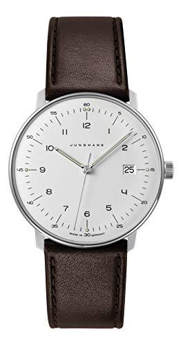 Junghans \'Max Bill\' Herren-Armbanduhr, Quarz, Edelstahl und Leder, Farbe: Braun (Modell: 041/4461.00)