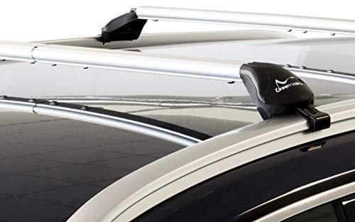 """Green Valley Freeline Barre da tetto in lega d'alluminio 6060T6 complete di piedi premontate pronte all'utilizzo su autovetture con barre longitudinali di tipo """"integrato"""" (Rails Int. CHIUSI)."""