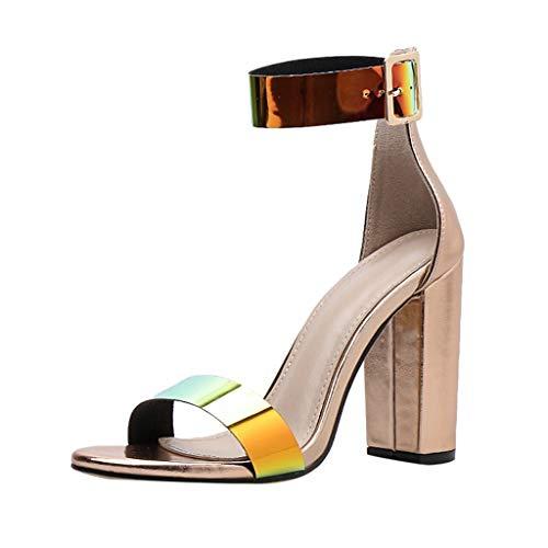 Kinlene Sandalias Zapatillas Zapatos de tacón Zapatos de Fiesta de Mujer Sexy Discoteca Sandalias de tacón Alto con Correa de Tobillo con Lentejuelas, 36 EU