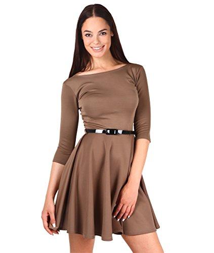 KRISP Damen Mini Skater Kleid Gürtel 3/4 Ärmel Stretch Plissiert Mokka (9072)