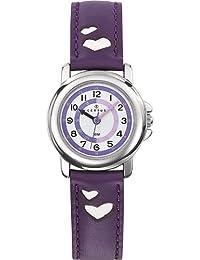 Certus - 647452 - Montre Enfant - Quartz Pédagogique - Cadran Blanc - Bracelet Cuir Violet