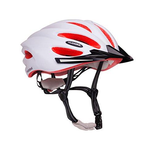 HUDORA Fahrrad-Helm Basalt Damen Herren, Fahrrad-Helm Rad-Helm Gr. 55-59, weiß/orange